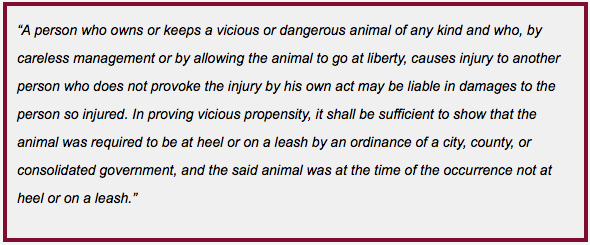 Excerpt of GA Statute OCGA 51-2-7 that our Georgia Dog Bite Attorney may reference while representing an injured child.